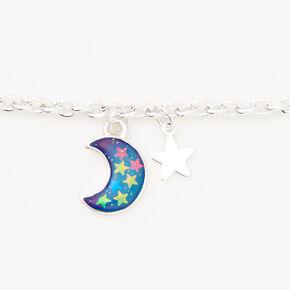Silver Crescent Moon Mood Charm Bracelet,