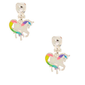 Iridescent Rainbow Unicorn Clip on Earrings,