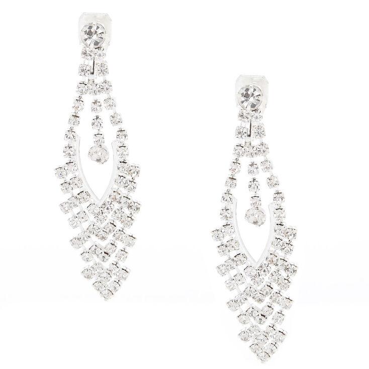 Faux Crystal Clip On Drop Earrings