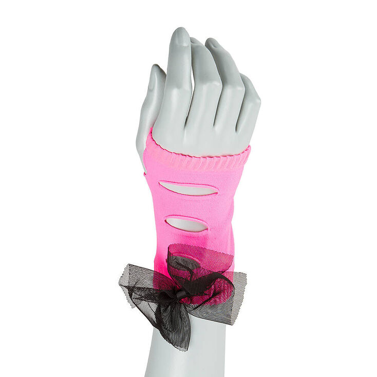 Claire's Neon Pink Ripped Arm warmers with Mesh Bow
