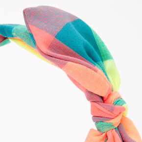 Neon Rainbow Gingham Knotted Bow Headband,