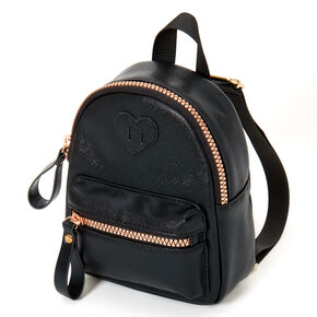 Claire's Club Faux Leather Mini Backpack - Black,