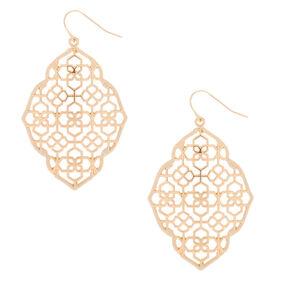 "Gold 2"" Filigree Thread Drop Earrings - Ivory,"