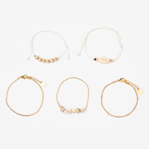 Gold Marble Seashell Chain Bracelets - White, 5 Pack,