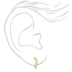 Gold Bamboo Geometric Ear Cuff & Mixed Earrings - 6 Pack,