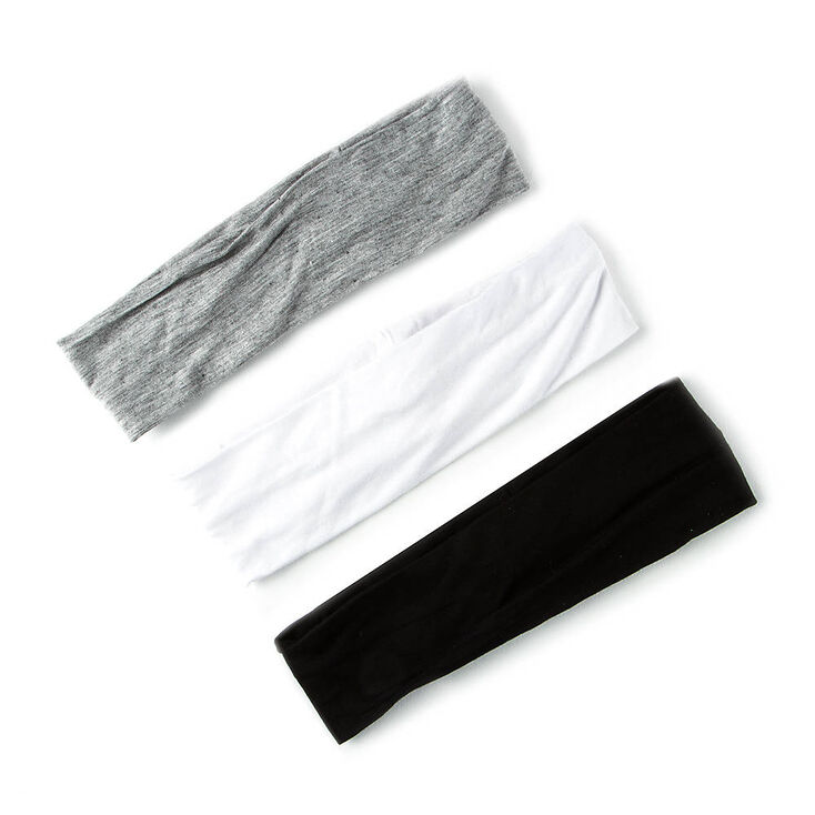 Black, White, & Gray Jersey Headwraps - 3 Pack,