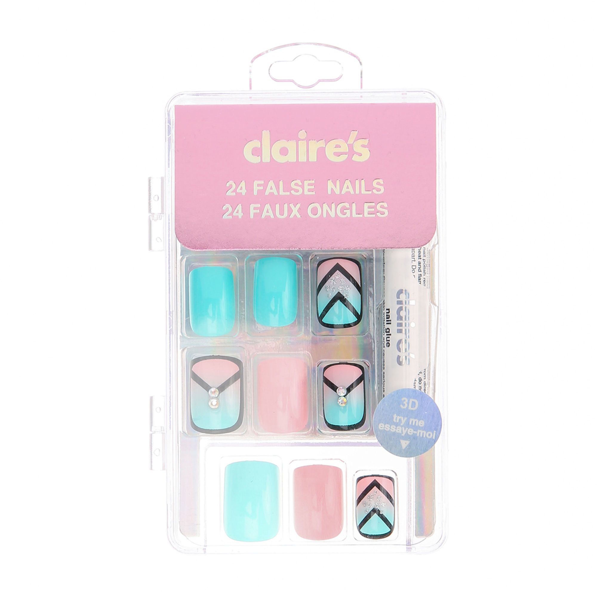 Mint and Pink Outlined False Nails | Claire\'s