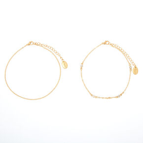 Gold Delicate Crystal Chain Anklets - 2 Pack,