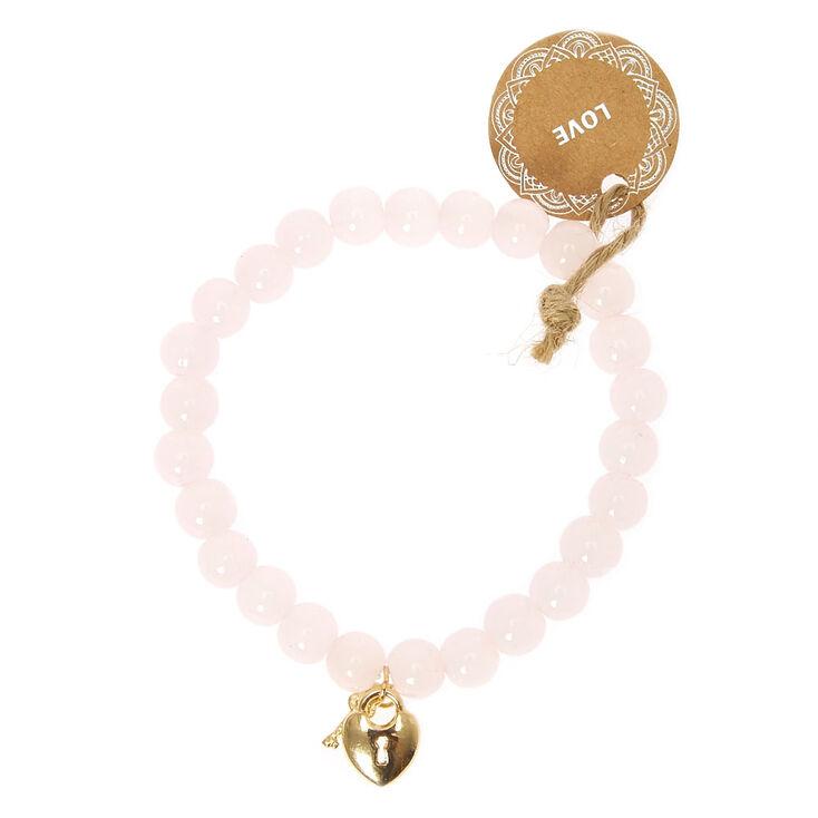 Bracelet élastique perlé love - Rose,