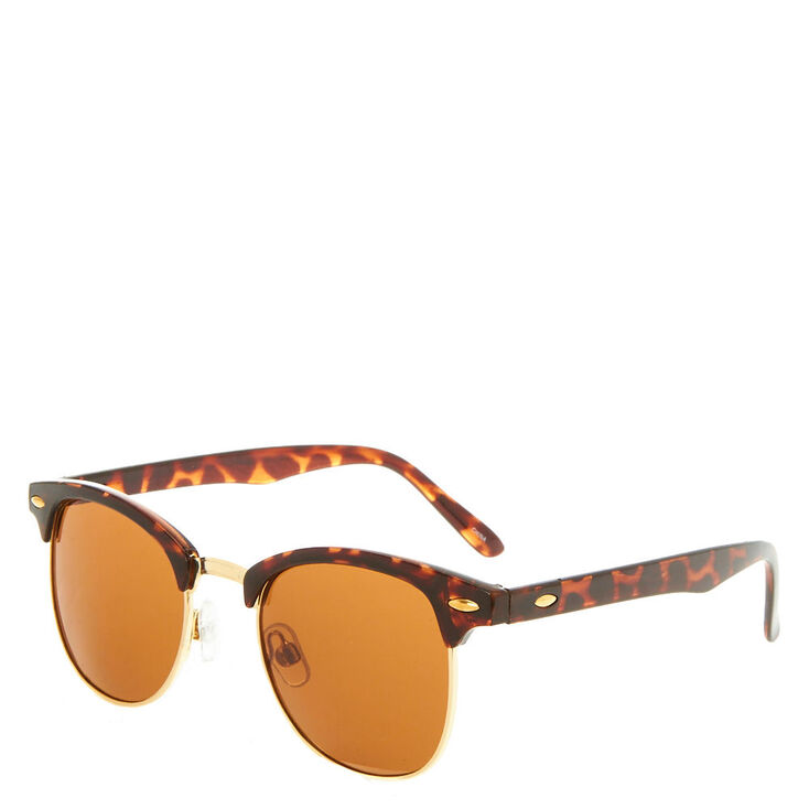Tortoiseshelll Retro Browline Sunglasses - Brown,