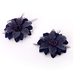 Lily Flower Hair Clips - Navy, 2 Pack,