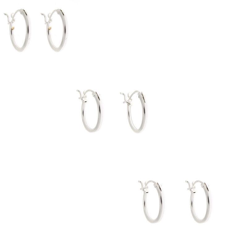 Sterling Silver 10MM Hinge Hoop Earrings - 3 Pack,
