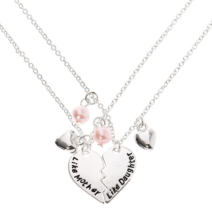 Like Mother Like Daughter Heart Pendant Necklaces - 2 Pack,