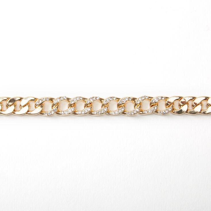 Ras-de-cou chaîne volumineuse bling bling couleur dorée,