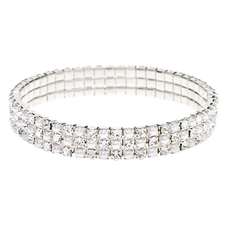 Silver Rhinestone & Pearl Stretch Bracelet,