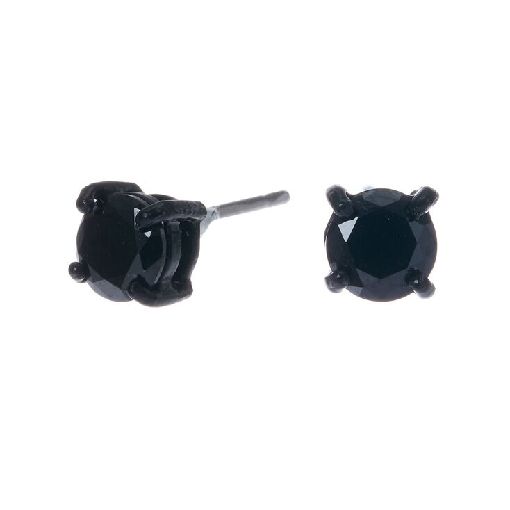 f5f263ad3 Black Cubic Zirconia 5MM Round Stud Earrings - Black | Claire's US
