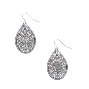 Silver-tone Filigree Teardrop Medallion Drop Earrings,