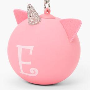 Initial Unicorn Stress Ball Keychain - Pink, E,