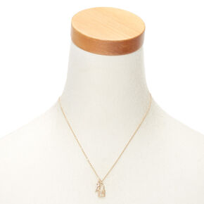Gold Lock & Key Initial Pendant Necklace - L,