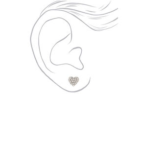 Silver Heart Stud Earrings - 6 Pack,