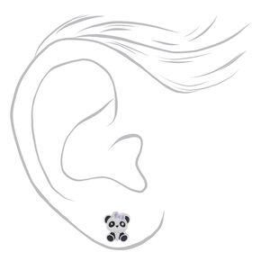 Clous d'oreilles en argent panda portant un nœud,