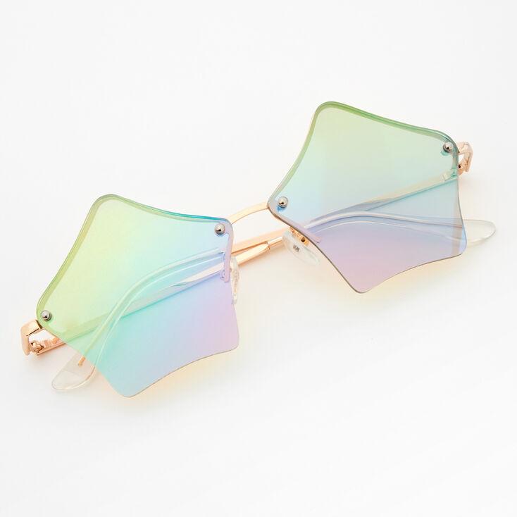 Rose Gold Star Shaped Rainbow Lens Sunglasses,