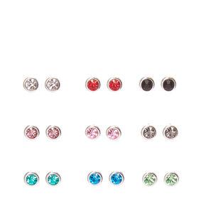 Round Coloured Crystal Stud Earrings,