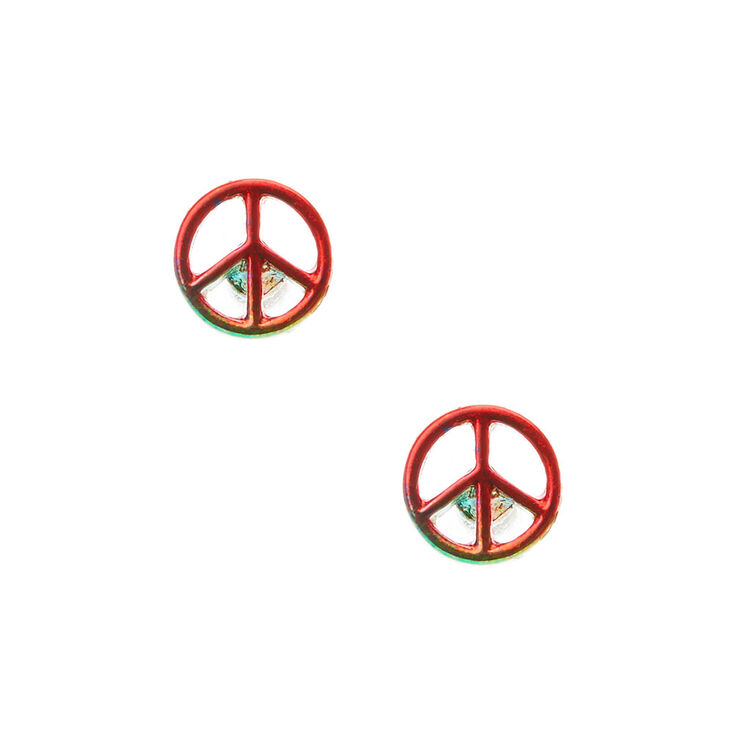 and stud earrings company palm sign beach peace product gold plated