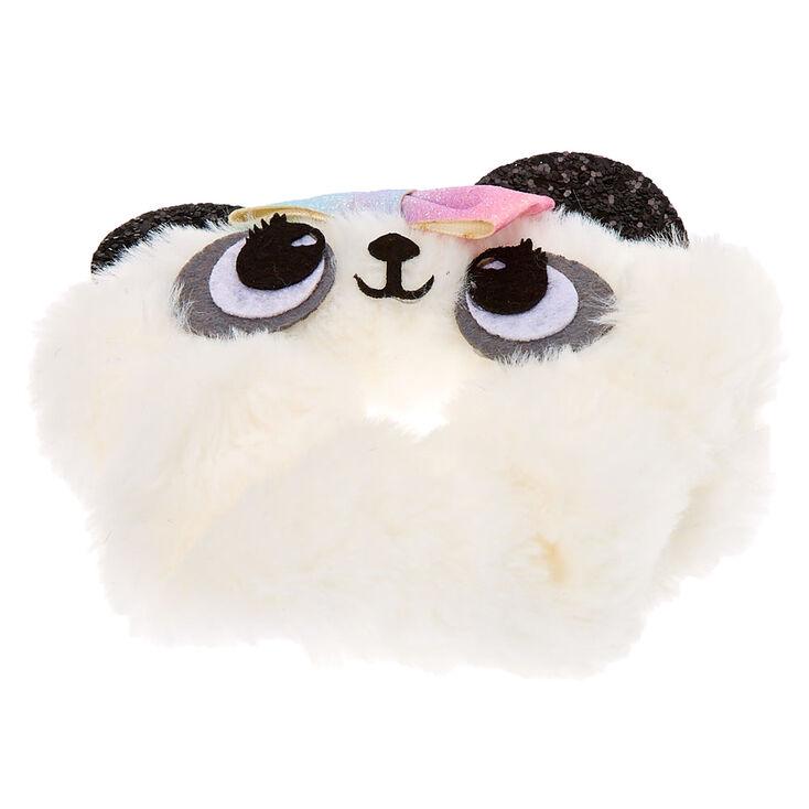 Medium Faux Fur Panda Hair Scrunchie - White,