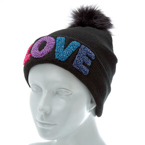 f05897f9f0f Love Knit Pom Pom Beanie - Black