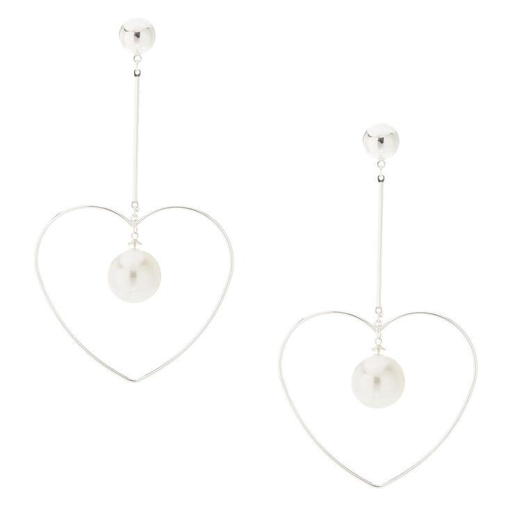 Silver-Tone Heart Pearl Drop Earrings,