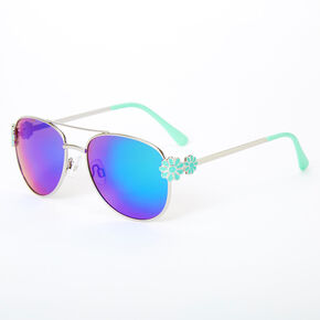 Claire's Club Floral Aviator Sunglasses - Mint,