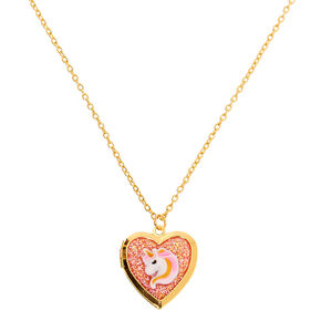 Claire's Club Gold Unicorn Locket Necklace,