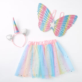 Claire's Club Rainbow Glitter Unicorn Dress Up Set - 3 Pack,