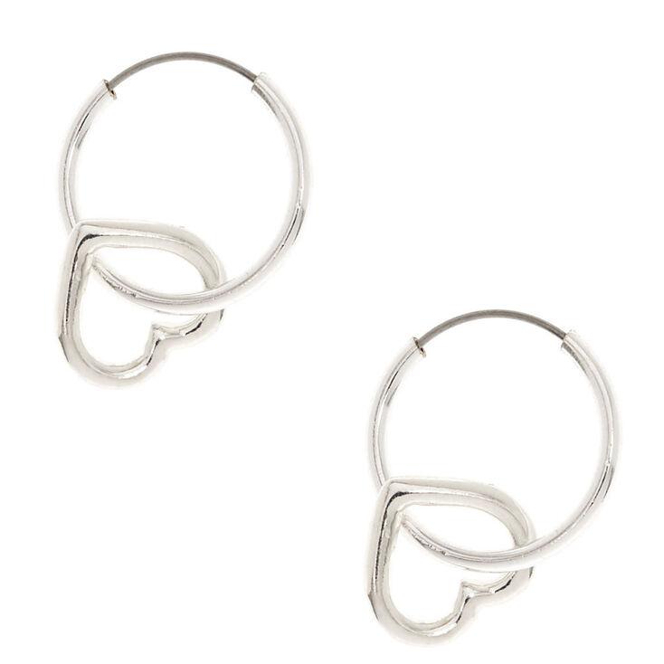 Silver 12mm Heart Hoop Earrings