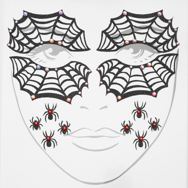 Glitter Spider Face Stickers,