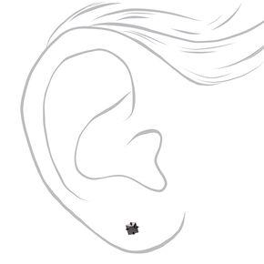 Clous d'oreilles carrés avec strass en zircon cubique d'imitation couleurs noire et titanée - 3mm,