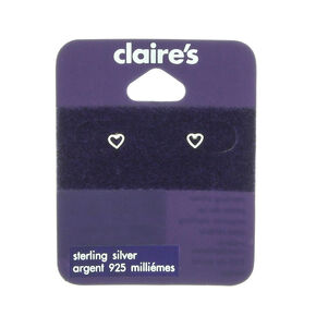 Sterling Silver 4MM Mini Open Heart Earrings,