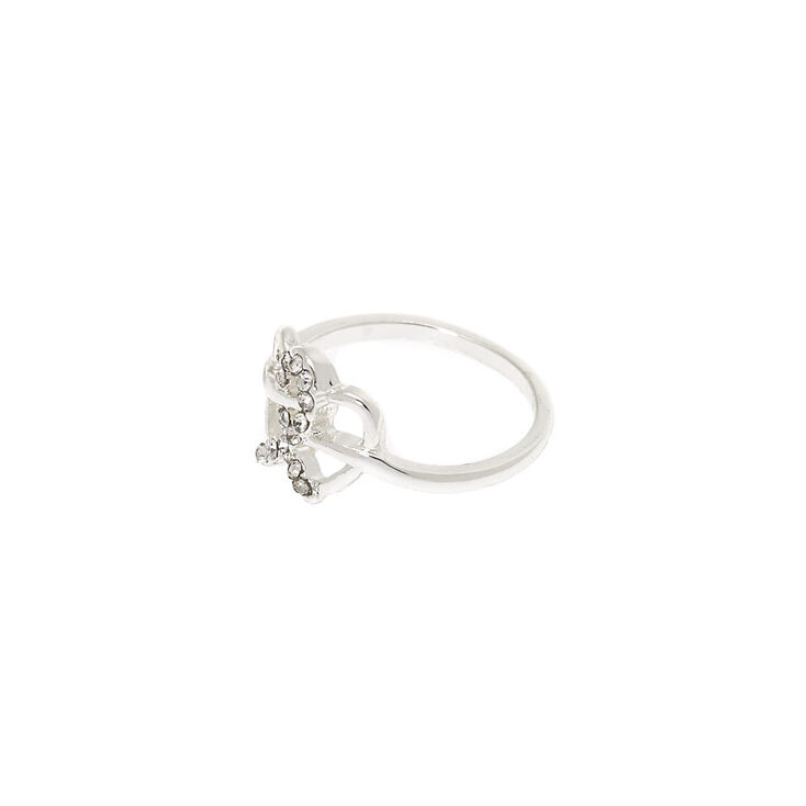 Silver Double Heart Ring,