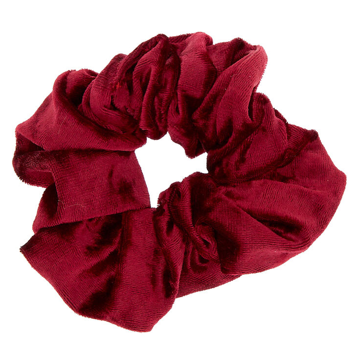 Wine coloured velvet scrunchie hair tie