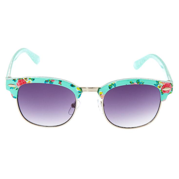 Claire's Club Retro Floral Sunglasses - Mint,