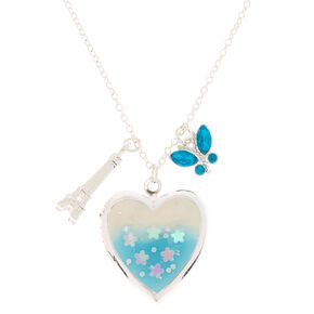 Spring Romance Locket Pendant Necklace - Blue,