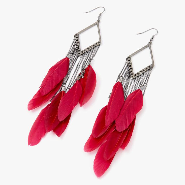 "Hematite 5"" Diamond Feather Drop Earrings - Red,"