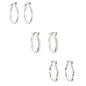 Silver 20MM Textured Hoop Earrings - 3 Pack,