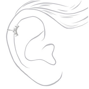 Manchette d'oreille à pics ornementée couleur argentée,