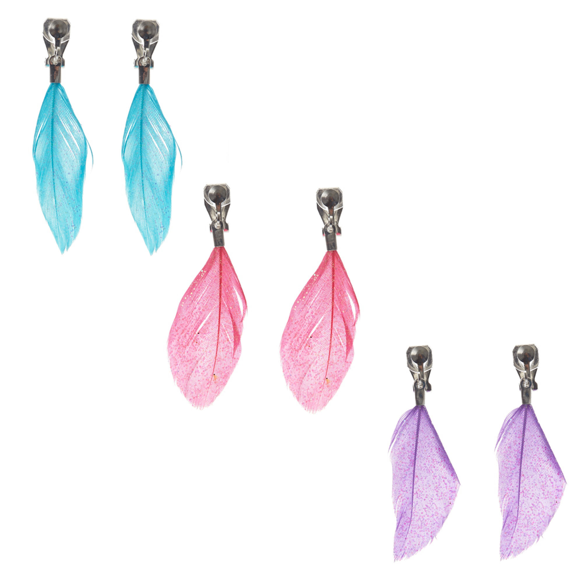 Clip On Feather Drop Earrings Claire S Us