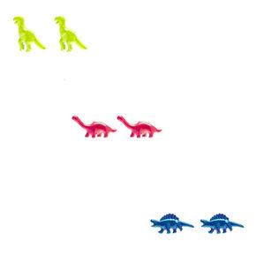 Neon Dinosaur Stud Earrings - 3 Pack,