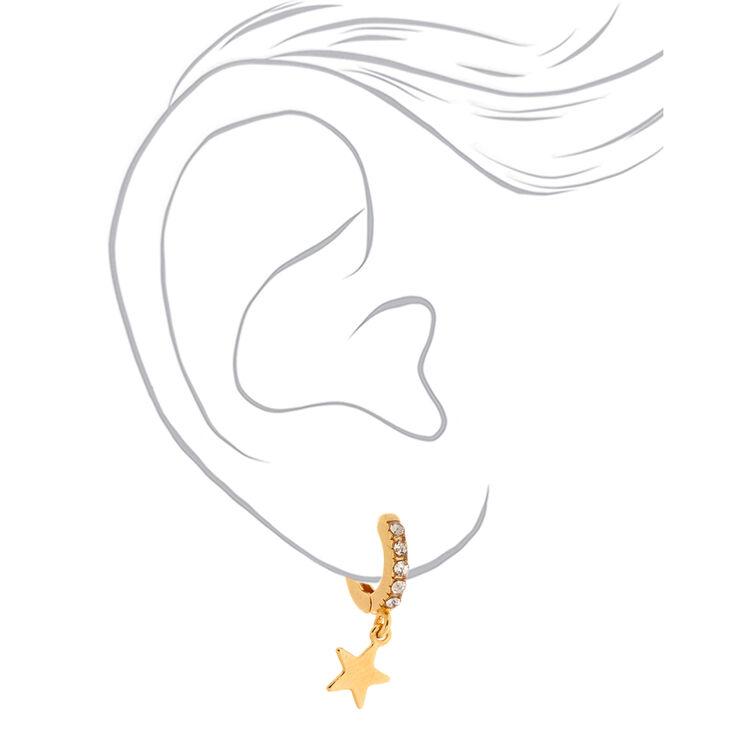 18kt Gold Plated Star Huggie Hoop Earrings,