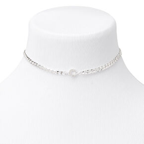 Silver Embellished Initial Chain Choker Necklace - C,