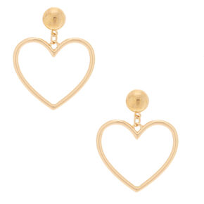 "Gold 2"" Heart Drop Earrings,"